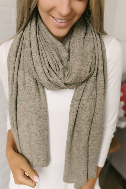 Carnegie Hill Soft Brushed Scarf - Heather Oatmeal