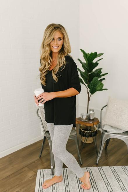 Soft Brushed Leggings - Heather Grey