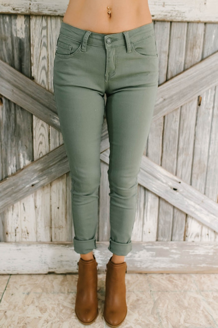 Downtown Seattle Skinny Jeans - Olive