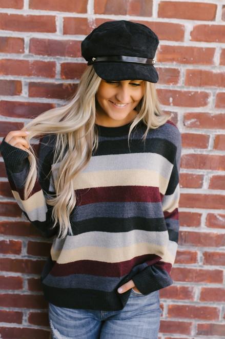 Harvest Celebration Colorblock Sweater - Navy Multi