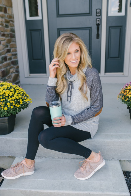 Soft Brushed Colorblock Pullover - Heather Grey/Charcoal