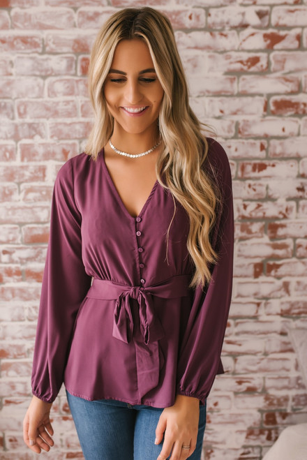 Me Before You Button Down Tie Waist Top - Purple