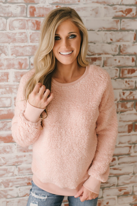 Love So Sweet Cozy Pullover - Blush - FINAL SALE
