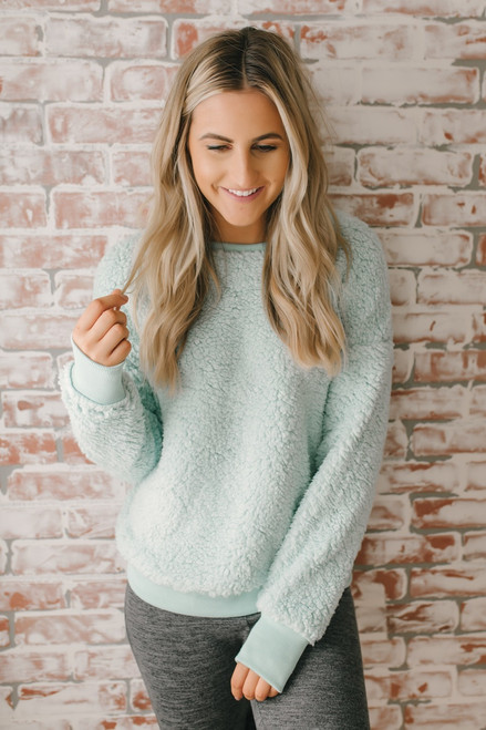 Love So Sweet Cozy Pullover - Mint - FINAL SALE