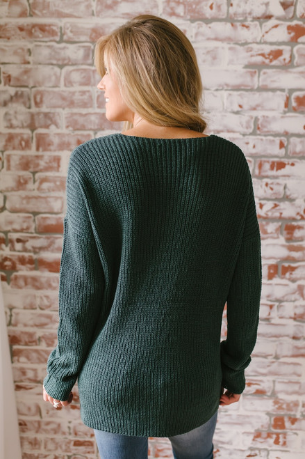 According To You V-Neck Sweater - Forest Green - FINAL SALE