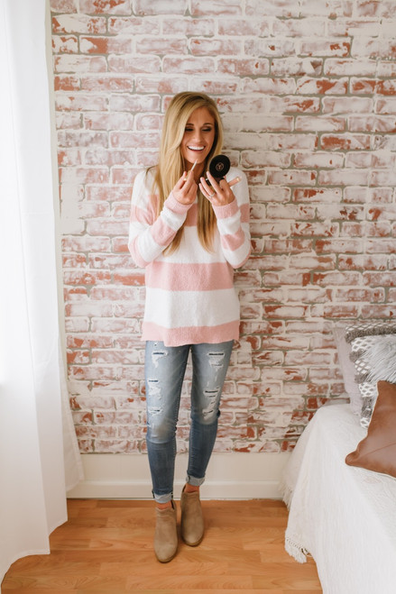 Keep Us Together Cozy Striped Sweater - Pink/White
