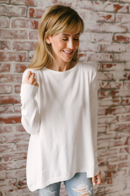 Cabin Retreat High Low Button Back Sweater - Ivory