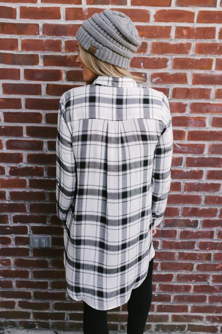 Fall Classic Button Down Plaid Tunic - White/Black