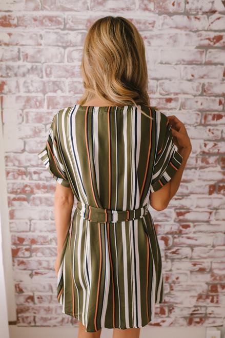 Button Down Tie Waist Striped Dress - Olive Multi