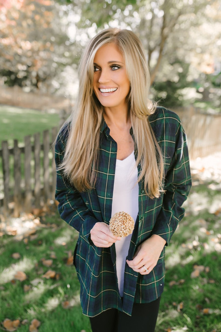 Waverly Plaid Button Down Shirt - Green/Navy