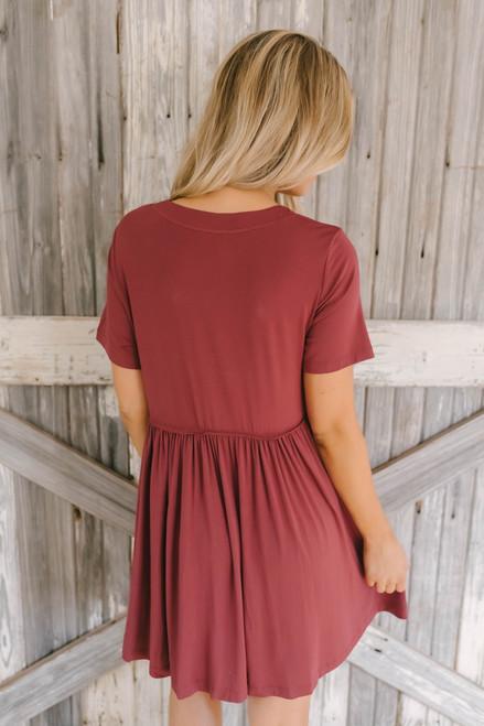 Short Sleeve Pocket Babydoll Dress - Brick