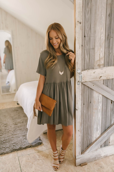 Short Sleeve Pocket Babydoll Dress - Olive- FINAL SALE
