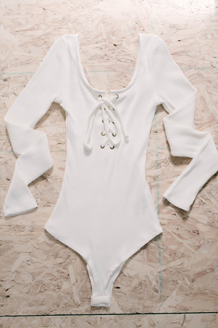 Lace Up Ribbed Knit Bodysuit - Ivory