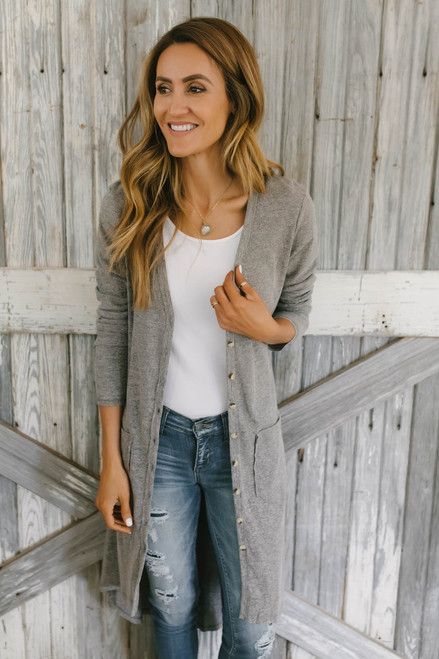Button Down Ribbed Duster Pocket Cardigan - Mocha