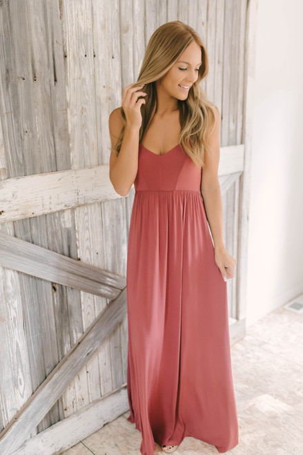 Island Dreams Strappy Back Maxi - Brick