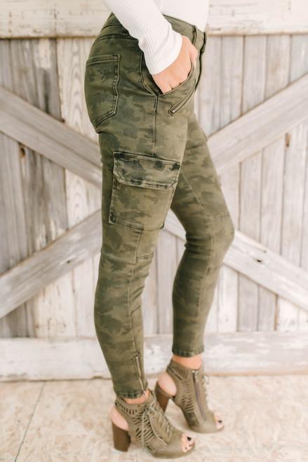 Khloe Camo Skinny Cargo Jeans - Olive