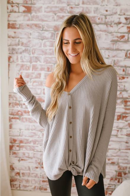 Thermal Button Down Knot Top - Grey - FINAL SALE