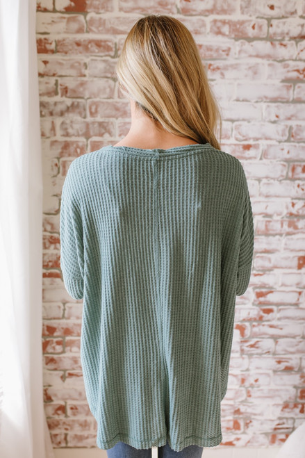 Thermal Button Down Knot Top - Dusty Jade