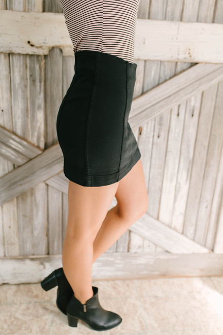 Off to Amsterdam Denim Panel Skirt - Black