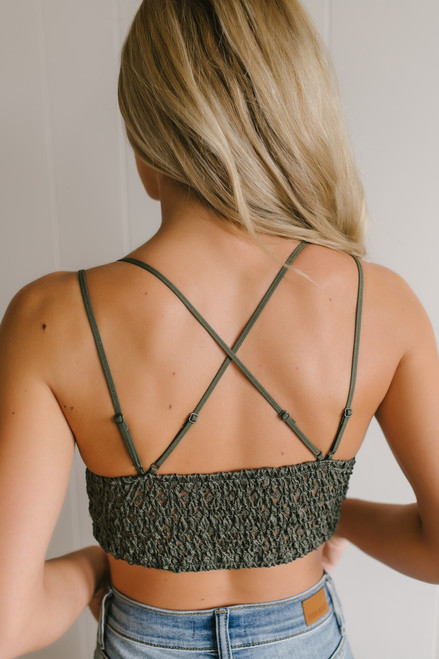 Strappy Scalloped Lace Bralette - Olive