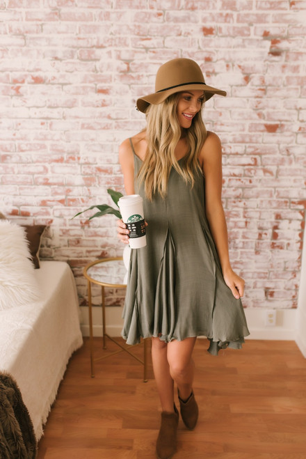 Falling For You Flare Dress - Olive