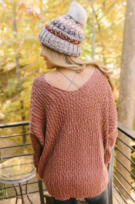 Italian Vineyard V-Neck Popcorn Sweater - Brick