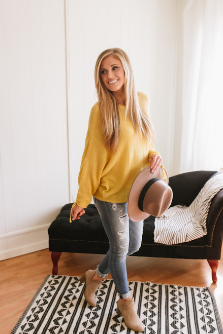 Cora Ruched Sleeve Lightweight Sweater - Mustard