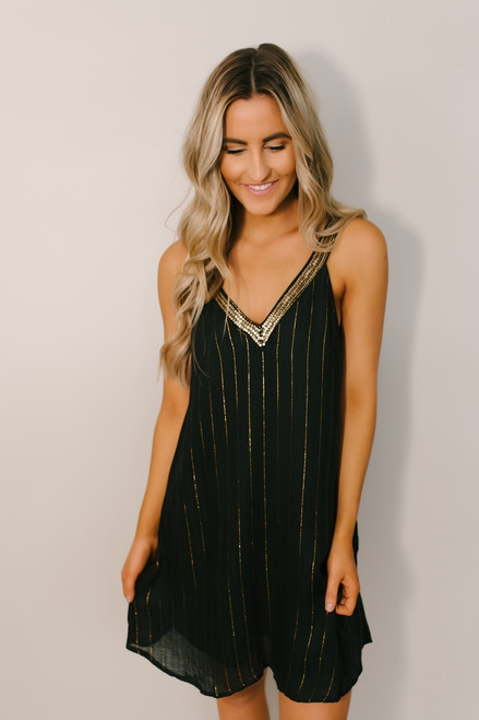 Glitz & Glam Metallic Stripe Dress - Green/Gold