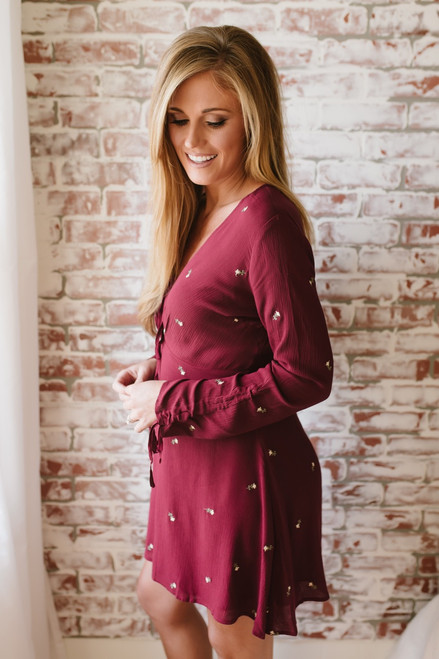 Tie Front Embroidered Floral Dress - Burgundy