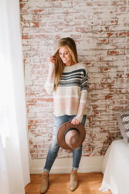 Norah Open Knit Colorblock Sweater - Natural Multi