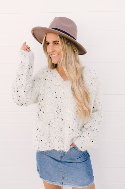 Spanish Wind V-Neck Confetti Sweater - Ivory Multi