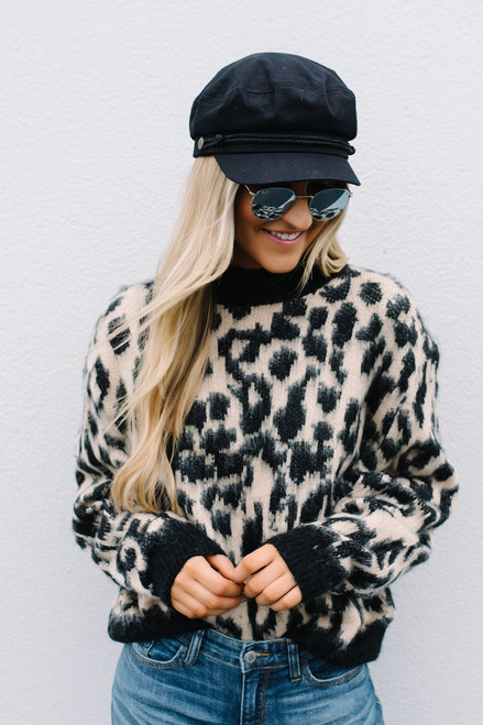 Spotted in Manhatten Leopard Sweater - Taupe Multi