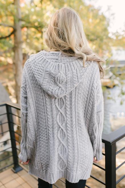 Vail Village Cable Knit Hooded Cardigan - Heather Grey