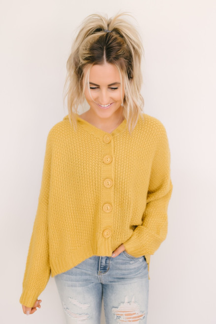 Golden Days Button Down Hooded Cardigan - Mustard