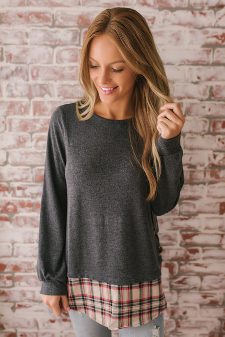 Lace Up Side Plaid Hem Top - Charcoal Multi