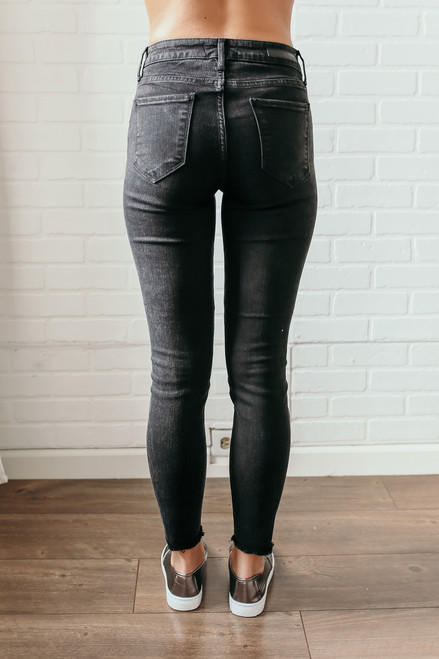 City of Lights Frayed Ankle Skinny Jeans - Black