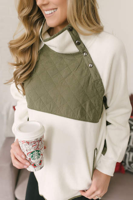 Asymmetrical Button Quilted Sweatshirt - Ivory/Olive