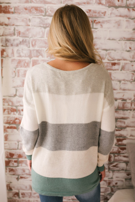 Arendelle Colorblock Pocket Sweater - Sage Multi