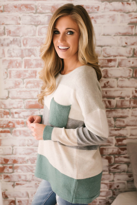 Arendelle Colorblock Pocket Sweater - Sage Multi - Pre-Order
