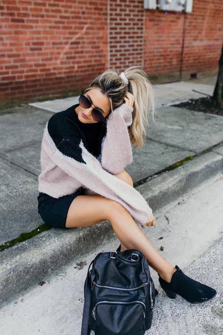 Manhattan Bound Colorblock Sweater - Black/Grey/Pink