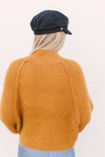 Mock Neck Eyelash Dolman Sweater - Camel