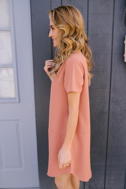 Autumn in Seville V-Neck Pocket Dress - Coral Rose