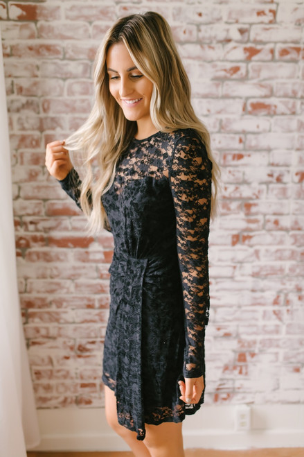 Black Tie Affair Gathered Lace Dress - Black