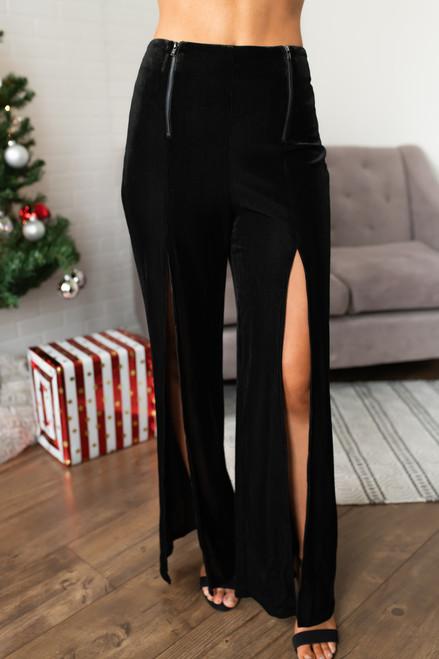 Martini Bar Slit Velvet Pants - Black