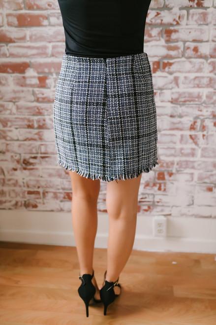 Frayed Edge Button Detail  Tweed Skirt - Navy Multi - FINAL SALE