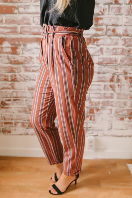 California Vineyard Striped Paperbag Pants - Brick Multi - FINAL SALE