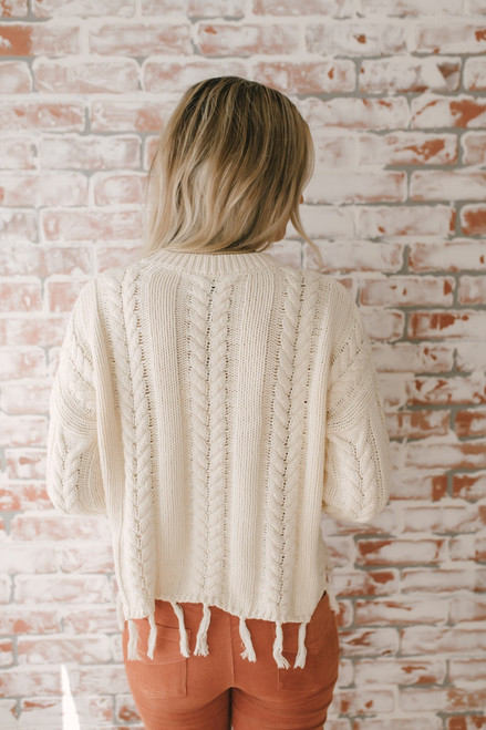 Autumn Calling Fringe Cable Sweater - Ivory  - FINAL SALE