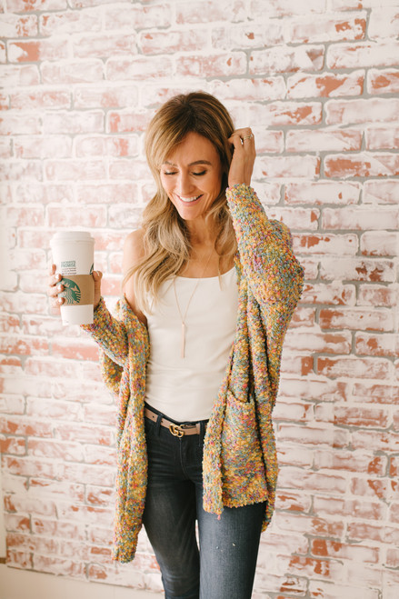 Sixteen Candles Dolman Popcorn Cardigan - Yellow Multi