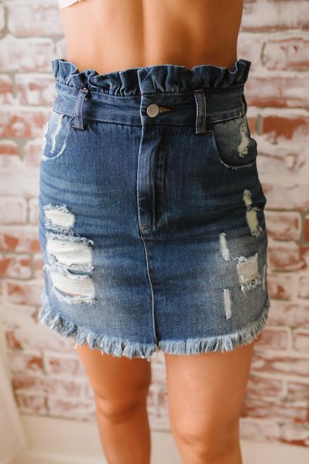Distressed Paperbag Denim Skirt - Dark Wash