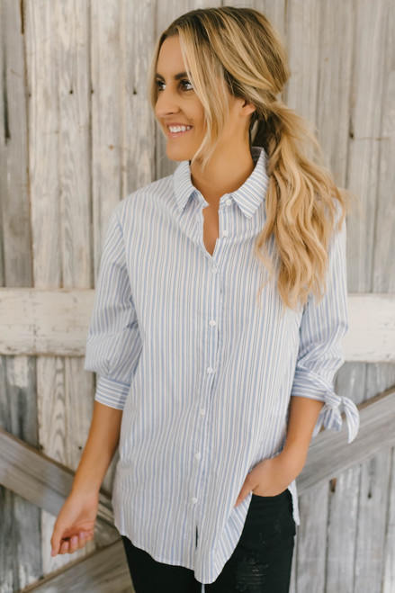 Tie Sleeve Striped Button Down Top - Blue/White